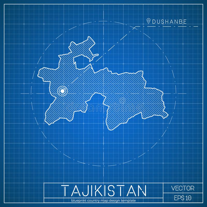 Tajikistan blueprint map template with capital stock vector download tajikistan blueprint map template with capital stock vector illustration of design graphic malvernweather Images