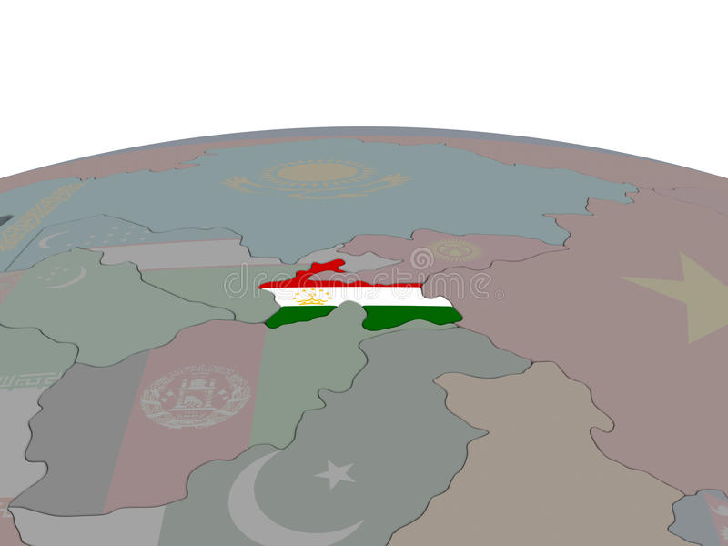 Download Tajikistan With Flag Stock Illustration - Image: 83716605