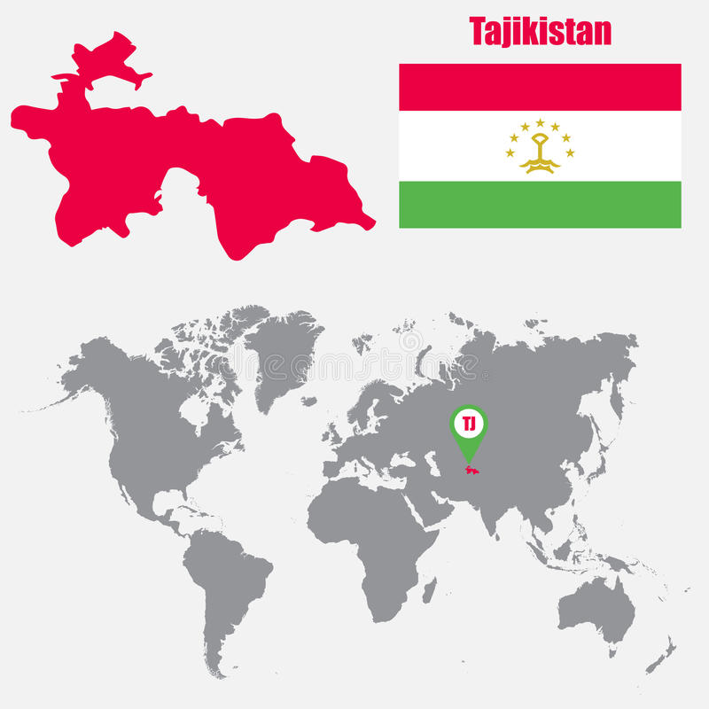 Tajikistan Map On A World Map With Flag And Map Pointer Vector - Tajikistan map vector