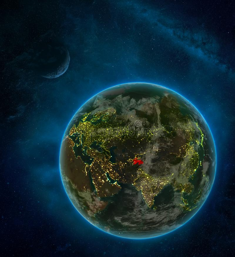 Tajikistan from space on Earth at night surrounded by space with Moon and Milky Way. Detailed planet with city lights and clouds. 3D illustration. Elements of vector illustration