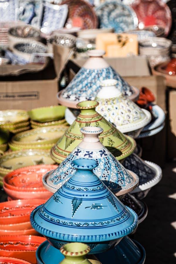 Tajines no mercado, C4marraquexe, Marrocos imagens de stock