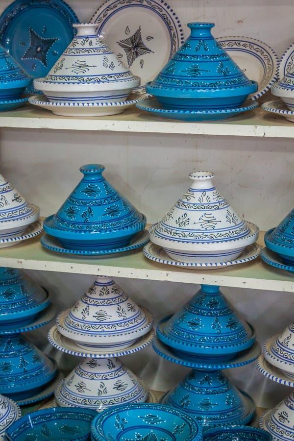 Tajines sur le marché, Marrakech, Maroc photographie stock