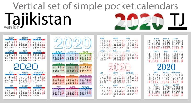 Tajiquistão ajustou-se de calendários do bolso para 2020 ilustração do vetor