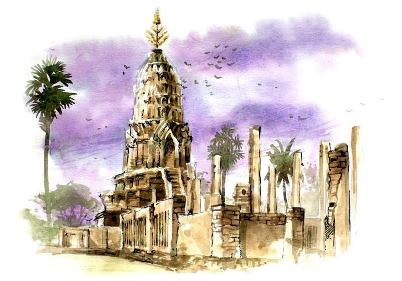 Tajlandia antyczny pagodowy obraz ilustracji