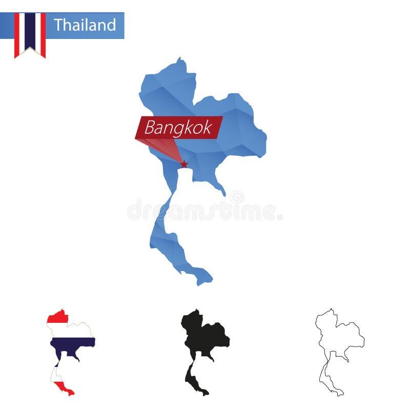Tajlandia błękitna Niska Poli- mapa z kapitałem Bangkok royalty ilustracja