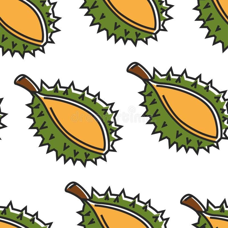 Tajlandia egzotycznego owocowego durian bezszwowy deseniowy Tajlandzki jedzenie ilustracji
