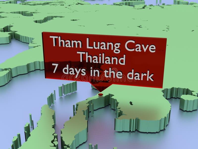 Tajlandia jamy ratunek od Tham Luang, czekać wiadomość 12 brakującej chłopiec i terener baseballa, przylega nadzieja ilustracja wektor