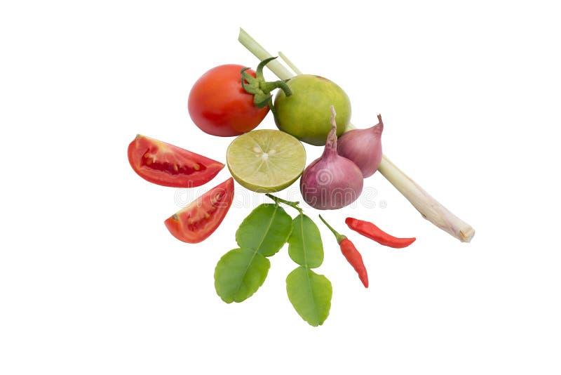 Tajlandia karmowych składników Lemongrass, kaffir wapna liście, pomidor obrazy royalty free
