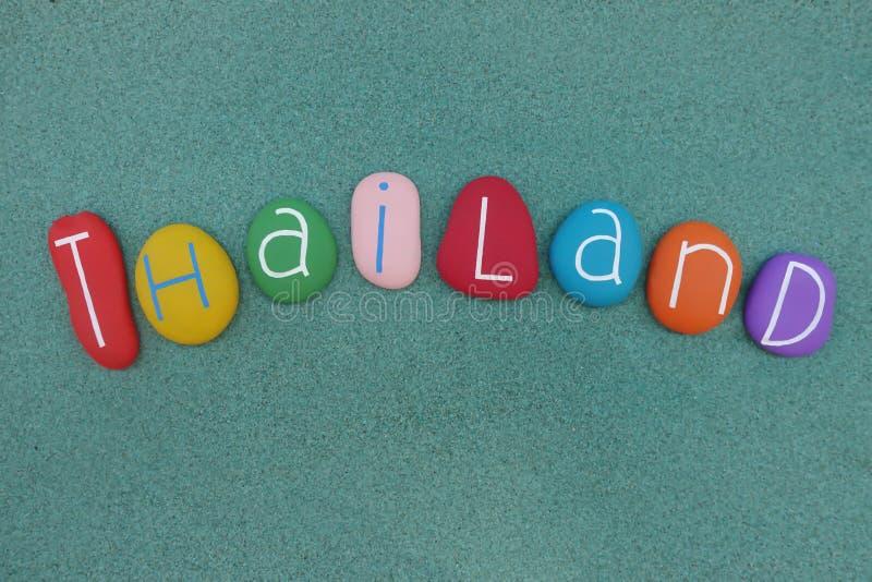 Tajlandia, królestwo Tajlandia kraj przy centre Azji Południowo Wschodniej Indochinese półwysep, pamiątka z barwionym kamienia ov obraz stock