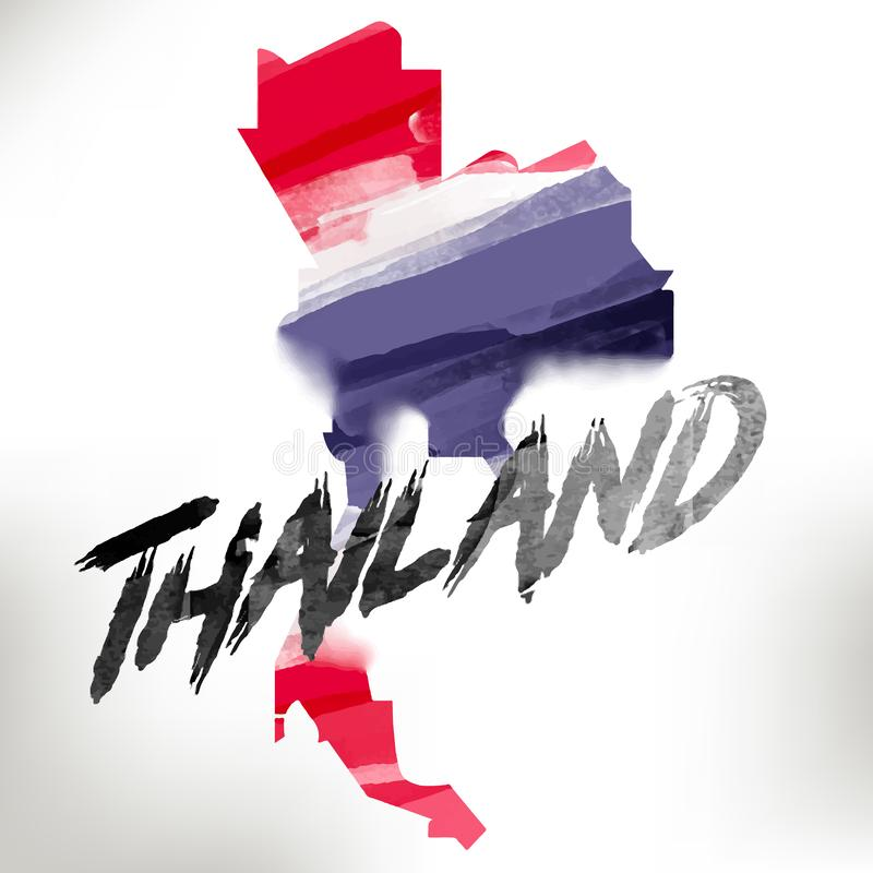 Tajlandia mapa w wodnego colour stylu - wektor zdjęcie royalty free