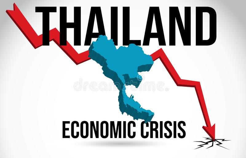 Tajlandia mapy kryzysu finansowego zawalenia się rynku Ekonomicznego trzaska topnienia Globalny wektor royalty ilustracja