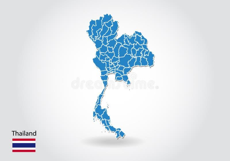 Tajlandia mapy projekt z 3D stylem Błękitna Thailand flaga państowowa i mapa Prosta wektorowa mapa z konturem, kształt, kontur, n ilustracja wektor