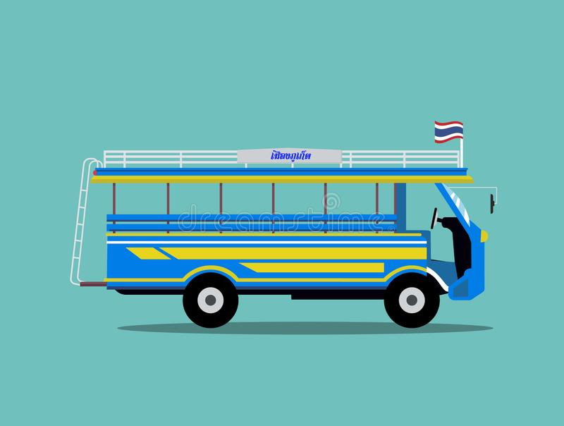 Tajlandia minibusa projekt Lokalny samochód w Phuket Tajlandia ilustracji