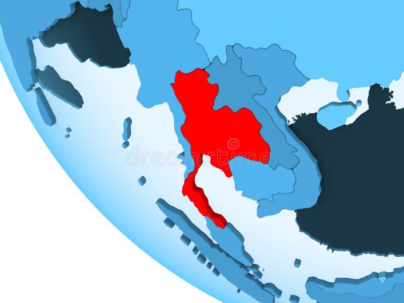 Tajlandia na błękitnej politycznej kuli ziemskiej ilustracji