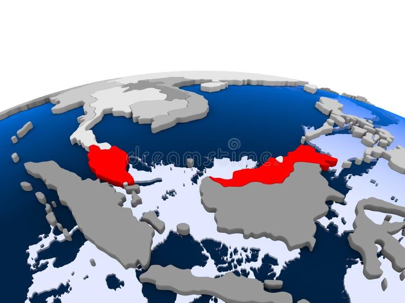 Tajlandia na politycznej kuli ziemskiej ilustracji