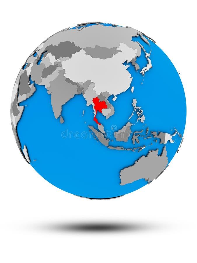 Tajlandia na politycznej kuli ziemskiej odizolowywającej ilustracji