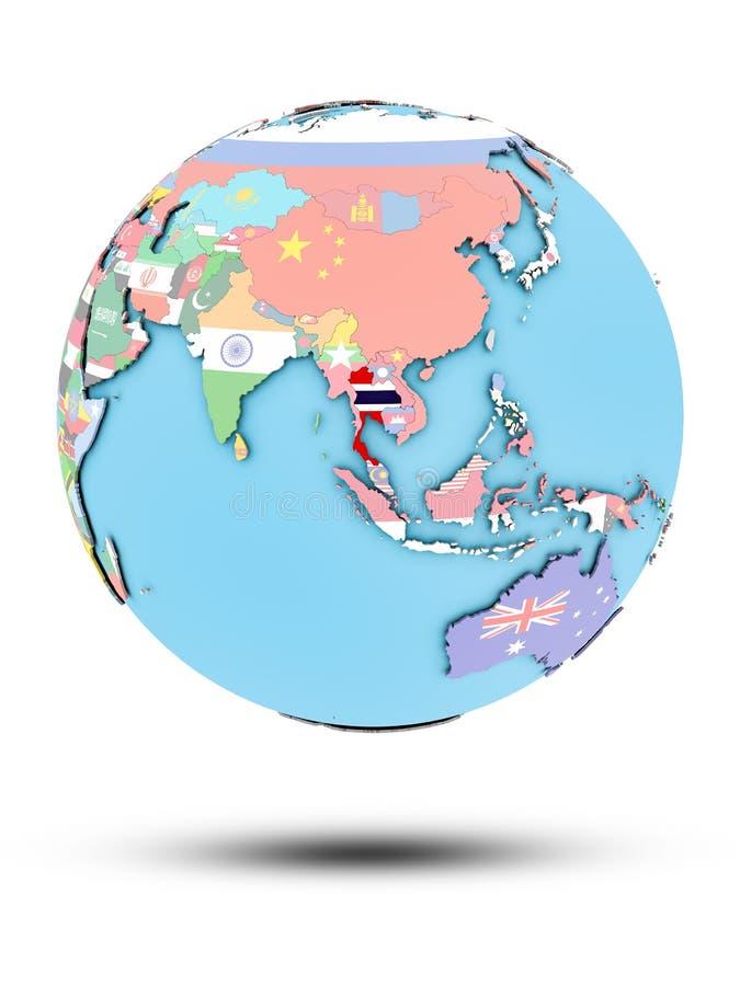 Tajlandia na politycznej kuli ziemskiej z flaga royalty ilustracja