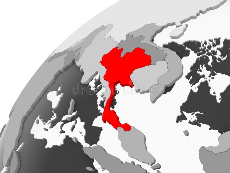 Tajlandia na popielatej politycznej kuli ziemskiej ilustracji