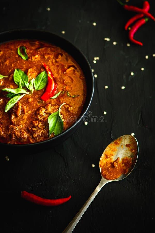 Tajlandia tradycyjna kuchnia, Czerwony curry, curry polewka, uliczny jedzenie, ciemna karmowa fotografia fotografia royalty free