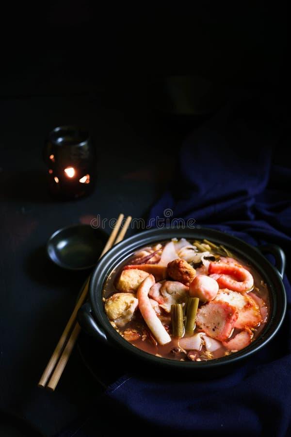 Tajlandia tradycyjna kuchnia, jen Ta Fo, Tajlandzki kluski, Uliczny jedzenie obraz royalty free
