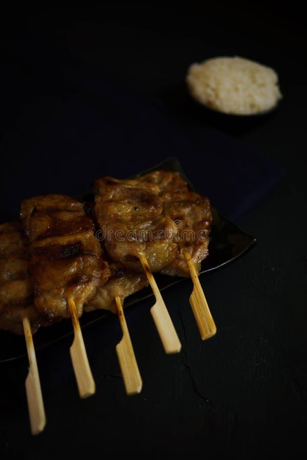 Tajlandia tradycyjna kuchnia, Piec na grillu wieprzowina, muczenie świst, Uliczny jedzenie, ciemna karmowa fotografia, kleisty ry fotografia stock