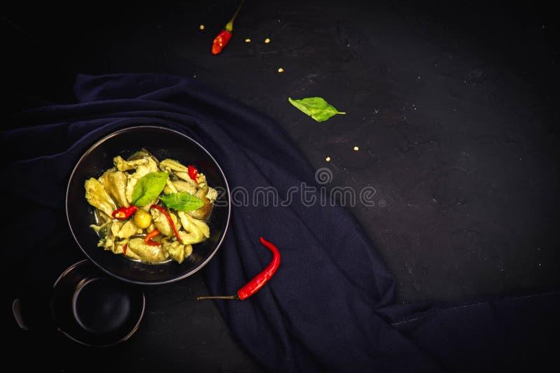 Tajlandia tradycyjna kuchnia, Zielony curry, Uliczny jedzenie obraz stock