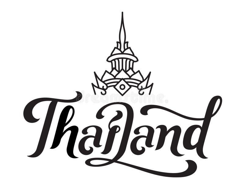 Tajlandia typografia w kaligrafia stylu muśnięciu z orientalnej korony kreskową sztuką ilustracji