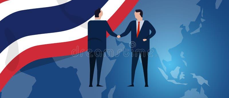 Tajlandia zawody międzynarodowi partnerstwo Dyplomaci negocjacja Biznesowego związku zgody uścisk dłoni Kraj flaga i royalty ilustracja
