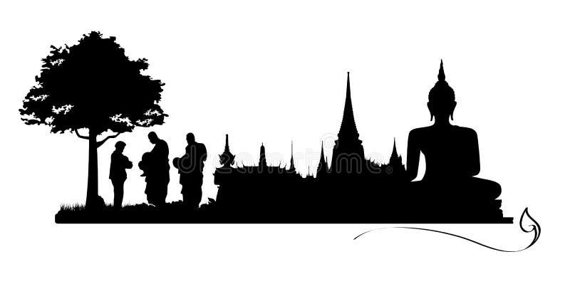 Tajlandzcy ludzie wierzą, Płacą hołd Buddha, ilustracja wektor