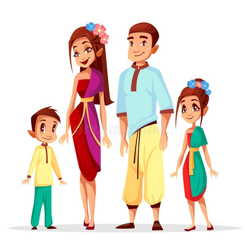 Tajlandzcy rodzinni wektorowi ilustracyjni postać z kreskówki ilustracji