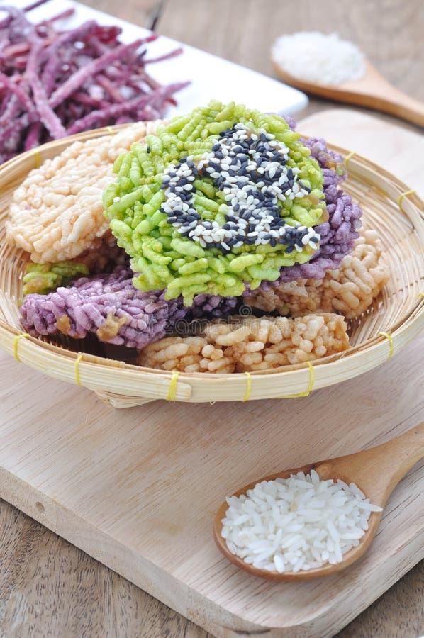 Tajlandzcy Słodcy Crispy Ryżowi torty zdjęcie stock