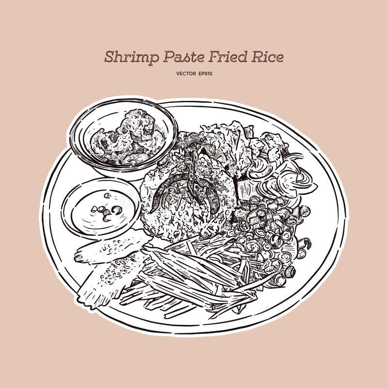 Tajlandzcy smażący ryż z krewetkową pastą, khao kluk kapi R?ka remisu wektor royalty ilustracja