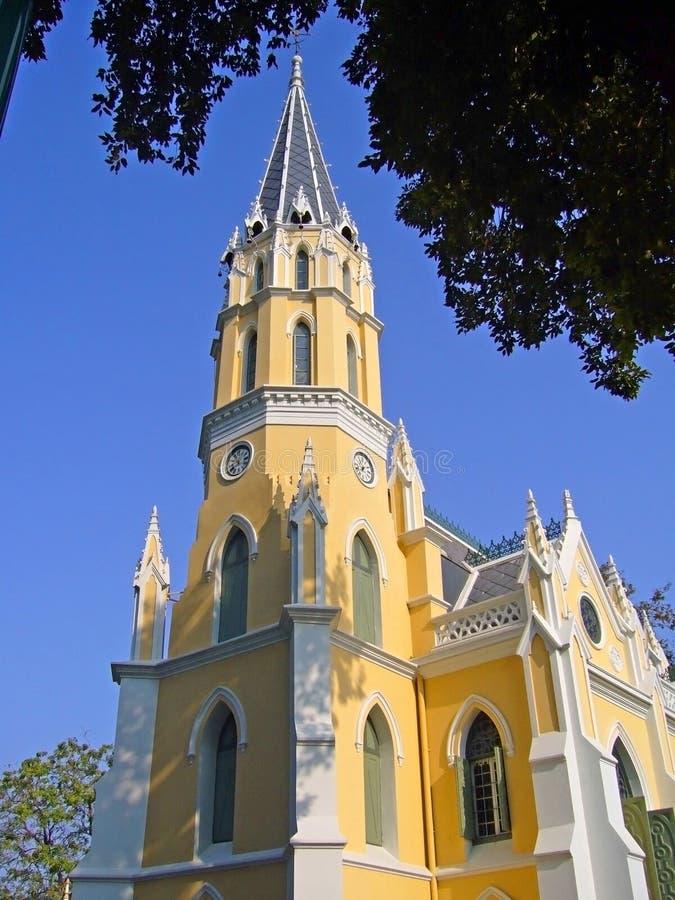 Tajlandzka świątynia z zachodnim kościół stylem obraz royalty free