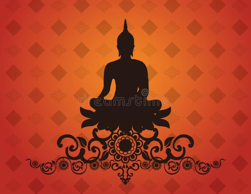 Tajlandzka Buddha sylwetka na deseniowej tło wektoru ilustraci royalty ilustracja