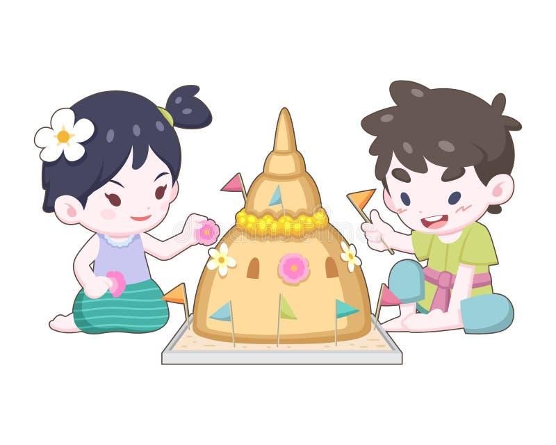 Tajlandzka dziewczyna i chłopiec w roczniku jest ubranym dekorujący piasek pagodę ilustracji