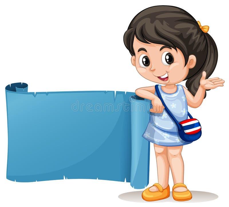Tajlandzka dziewczyna z błękitnym sztandarem ilustracja wektor