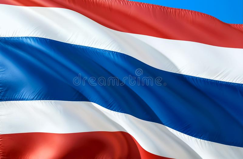 Tajlandzka flaga 3D falowania flaga projekt Krajowy symbol Tajlandia, 3D rendering Tajlandzcy obywatelów kolory Tajlandia 3D falo royalty ilustracja