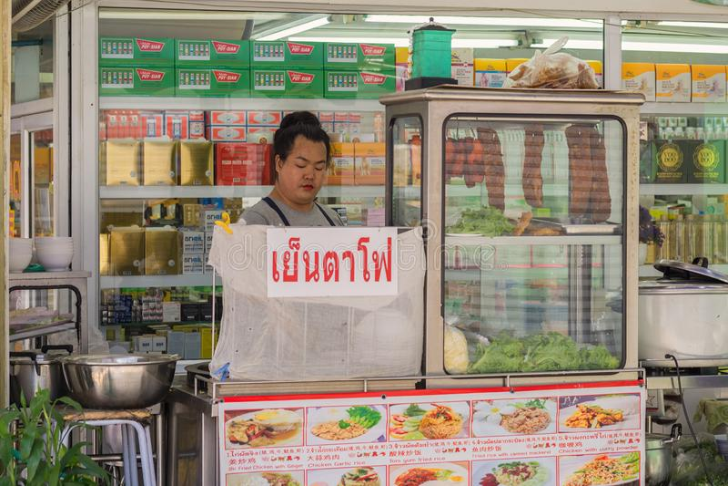 Tajlandzka kobieta gotował jedzenie w małej mobilnej restauracji obraz stock