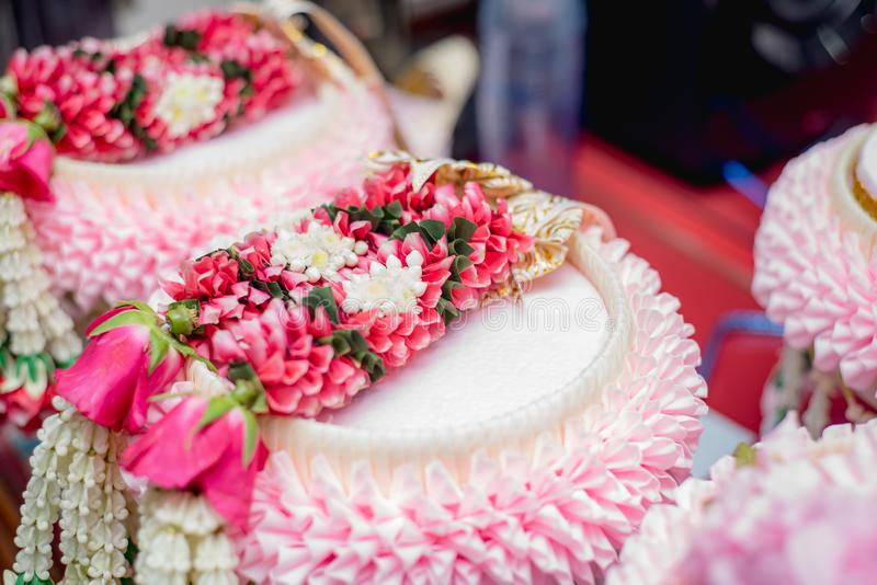 Tajlandzka kwiat girlanda, ślubnej ceremonii akcesoriów narzędzie, Tajlandia obraz royalty free