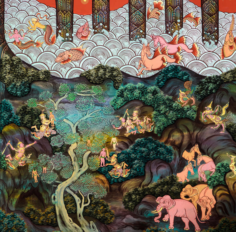 Tajlandzka malowidło ścienne obrazu sztuka zdjęcie stock