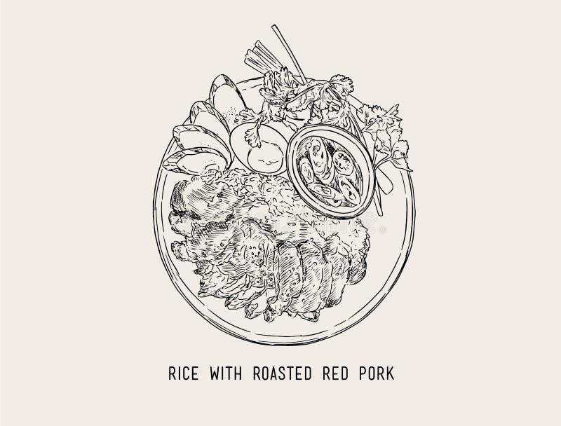 Tajlandzka rewolucjonistki BBQ wieprzowina Z Ryżowym Tajlandzkim jedzeniem Ręka remisu wektor ilustracji