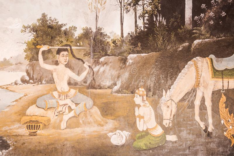 Tajlandzka stylowa obraz sztuka, bajki władyki Buddha ` s poprzedni birt zdjęcie royalty free