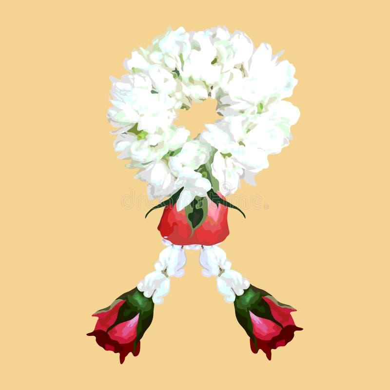 Tajlandzka tradycyjna jaśminowa kwiat girlandy ilustracja, wektor ilustracji