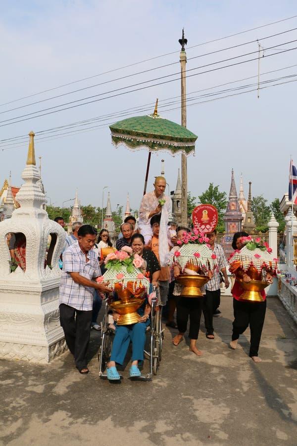 Tajlandzka wyświęcenie ceremonia Tajlandia, Kwiecień, - 8, 2015 obraz stock