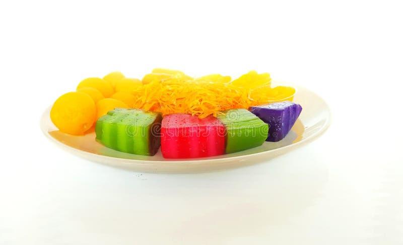 Tajlandzki deser: 5 z?otych nici Thongbib, Tong Yord fotografia stock