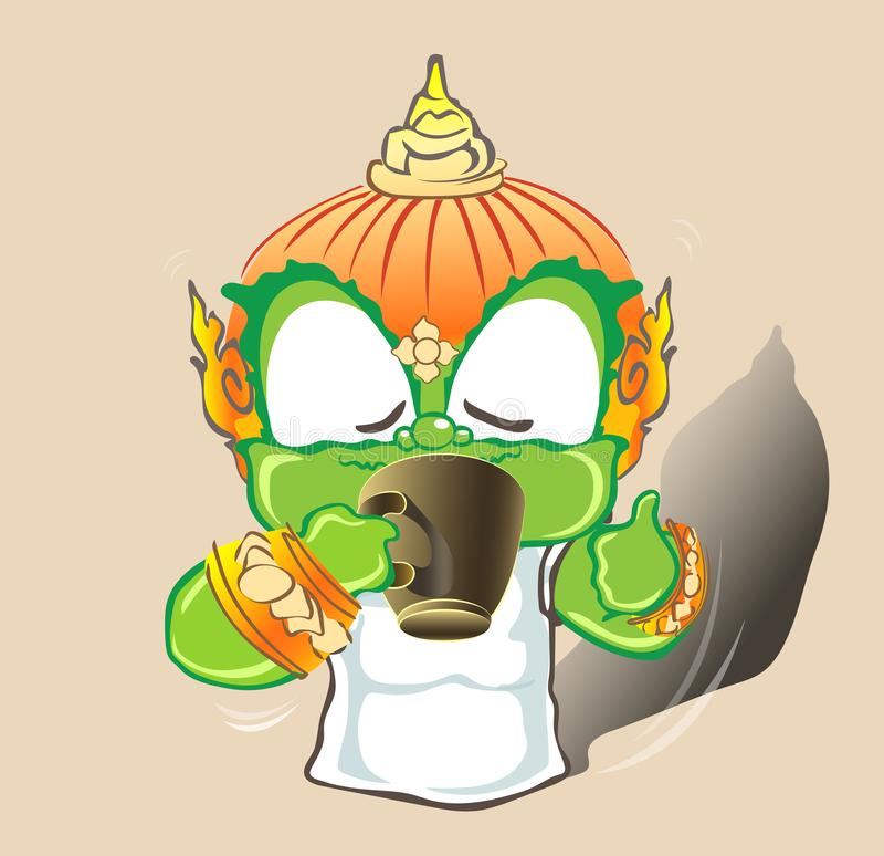 Tajlandzki gigantyczny działanie pije gorącą kawę lub coco jest w ten sposób dobry royalty ilustracja