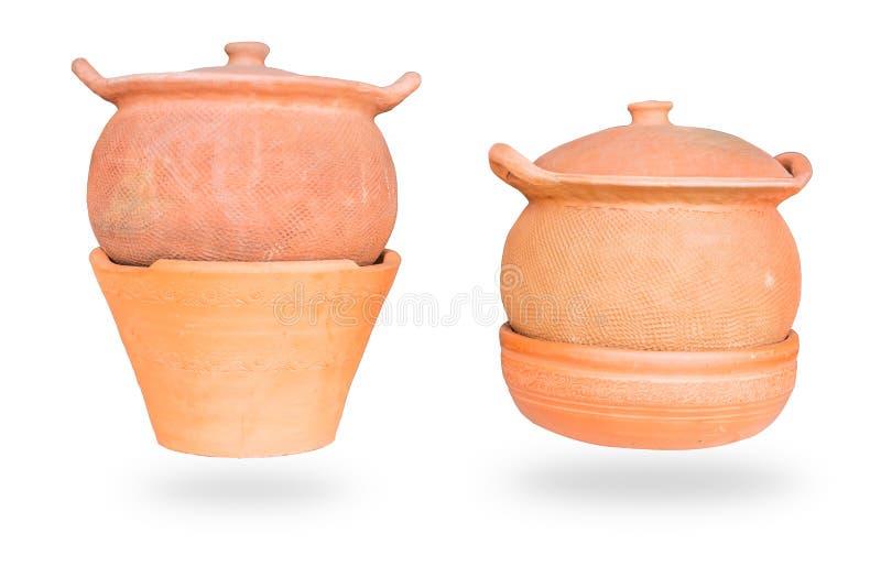 Tajlandzki handmade gliniany earthenware rocznika kucharstwa garnek zdjęcia royalty free