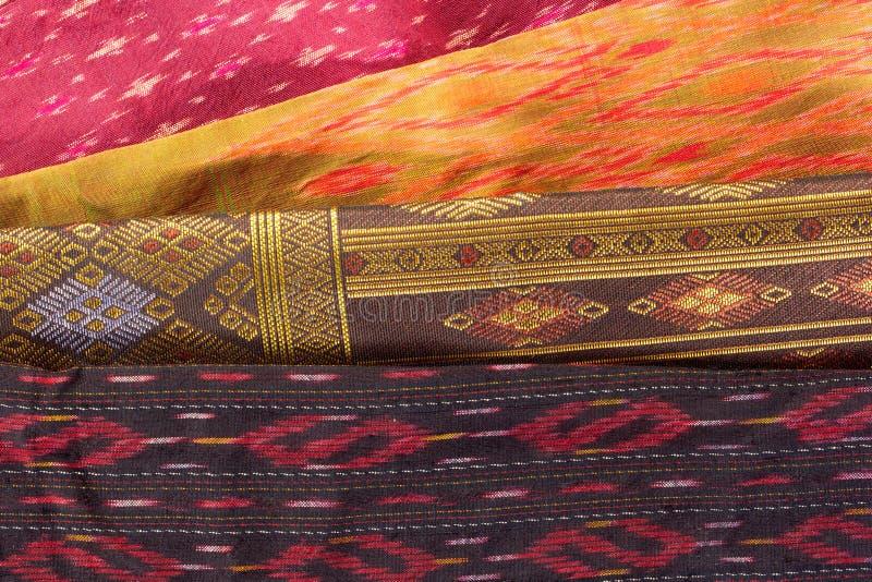 Tajlandzki jedwabiu wzór, Tajlandia tkaniny styl zdjęcia stock
