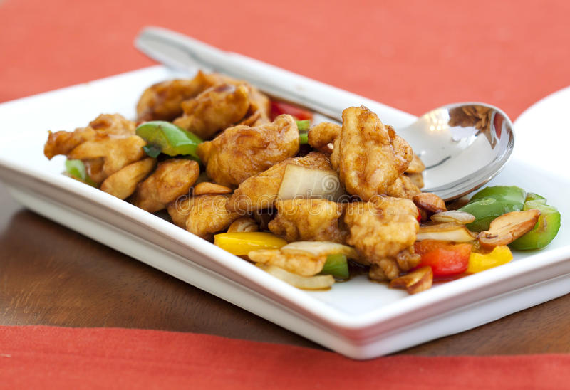 Tajlandzki jedzenie, fertanie podpalał kurczaka z nerkodrzewu dokrętkami fotografia stock