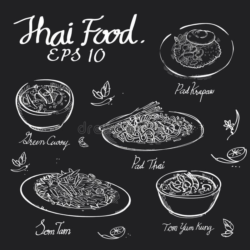 Tajlandzki jedzenie kredy remis na czerni desce zdjęcie stock